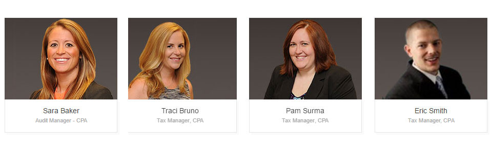 Tax Managers: Sara Baker, Traci Bruno, Pam Surma and Eric Smith